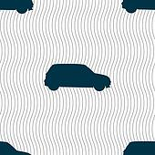 Jeep icon sign. Seamless pattern with geometric texture.