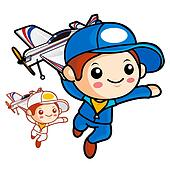 Aviation School Mascot run to be holding a model airplane. Work and Job Character Design Series.