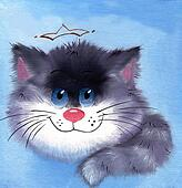Gray fluffy kitten hilarious with blue eyes