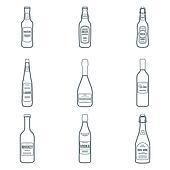 dark outline alcohol bottles icons set