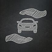 Insurance concept: Car And Palm on chalkboard background
