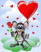 Mouse with heart balloon