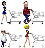 Cartoon Shoppers Shopping Cart