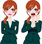 Angry Businesswoman Late Concept