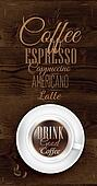 Menu coffee in dark brown wood