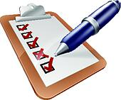 Survey clipboard and pen