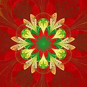 Symmetrical pattern in stained-glass window style. Red palette.