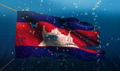 Cambodia Under Water Sea Flag National Torn Bubble 3D