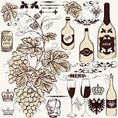 Vector set of vintage decorative elements vine and winemaking
