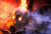 Skull with cloth and fire angle vie