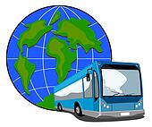 Bus with globe