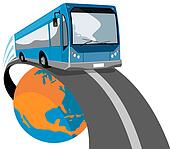 Bus coming off globe