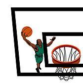 Basketball player lay up