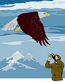 Eagle and bird watcher