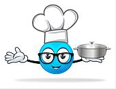blue people chef with  pot