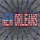 New Orleans flag text on dollars sunburst illustration