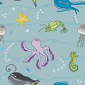 pattern with the inhabitants of  marine world