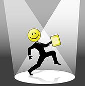 Smiley High Step Business Person Dance in Spotlight