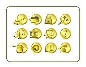 Legal Icon Set - Golden