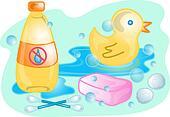 Baby bath set illustration