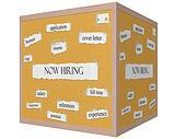 Now Hiring 3D cube Corkboard Word Concept