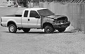Burned Truck Wreck on Roadside