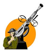 Soldier manning a gun