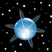 Orbits Around Blue Sphere in Outer Space