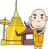 Thai Monk Clip Art - Royalty Free - GoGraph