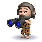 3d Caveman with binoculars
