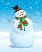 Snowman Wearing A Striped Scarf