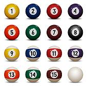Colored pool balls