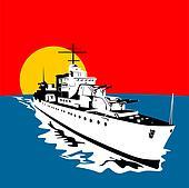 Battleship with big guns