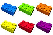Construction Blocks In Colorful Isolation