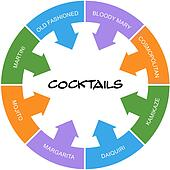 Cocktails Word Circle Concept Scribbled