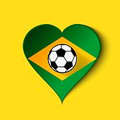 Brazil 2014 Heart icon with Brazilian Flag