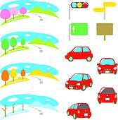 drive, car, scenery, four seasons,