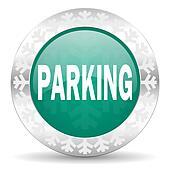 parking green icon, christmas button