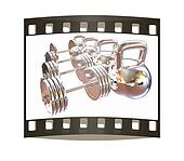 Metal weights and dumbbells. The film strip