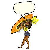 cartoon woman carrying canoe with speech bubble