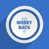 money back blue flat design modern icon