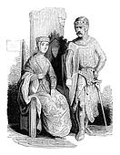Costumes beginning of the reign of John, vintage engraving.