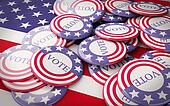 3d llustration of presidential campaign pins.