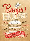 Poster lettering Burger House kraft
