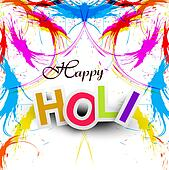 Beautiful Indian festival grunge colorful Happy Holi colors splash.vector illustration