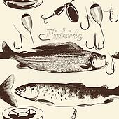 Seamless wallpaper pattern with hand drawn fish
