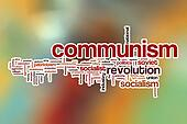 Communism word cloud with abstract background