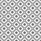 Black and White Maltese Cross Symbol Tile Pattern Repeat Background