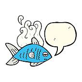 cartoon funny fish with speech bubble
