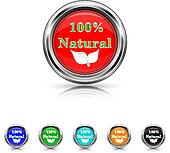 100 percent natural icon - six colours set